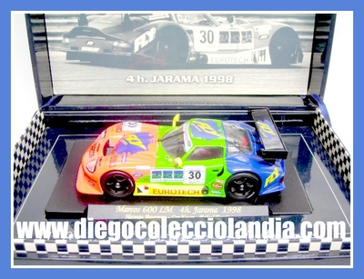 "MARCOS LM 600 LM "" 4H. JARAMA 1998 "" DE FLY CAR MODEL REF/ A27 . TODOS LOS COCHES DE SLOT DE LA WEB, SON COMPATIBLES CON CIRCUITOS SCALEXTRIC, SUPERSLOT, NINCO Y CARRERA............ www.diegocolecciolandia.com . Tienda Slot, Scalextric Madrid, España . Slot Cars Shop Madrid Spain."