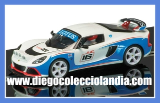 "LOTUS EXIGE R-GT #16 "" WHITE / BLUE ""  DE SUPERSLOT REF/ H3520 . TODOS LOS COCHES DE SLOT DE LA WEB, SON COMPATIBLES CON CIRCUITOS SCALEXTRIC, SUPERSLOT, NINCO Y CARRERA."